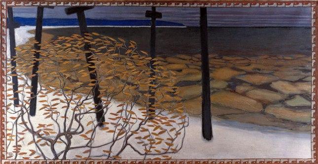 Геннадий Кацов СЛОВОСФЕРА №93 Аксели Галлен-Каллела, «Пять крестов осенью. Эскиз для фрески мавзолея Юселиуса» (1902)