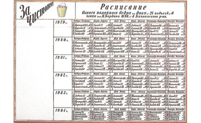 №51 Илья Кабаков, «Расписание выноса помойного ведра» (1970-е)